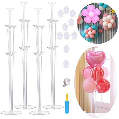 Table Balloon Stand Kit-4 Sets,Reusable Clear Balloon Holder(7 Balloon Sticks,7 Balloon Cups,1 Balloon Base) With 1 Pump,5 Balloon Clips,Stick Dots for Birthday,Wedding Any Party/Event Decorations