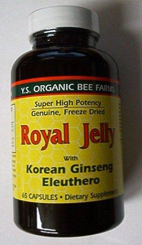Ys Organic Royal Jelly - Royal Jelly 200 mg + Ginseng (Siberian 200mg, Korean 100mg) Y.S. Organic Bee Far, 65 Capsules