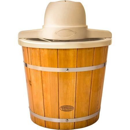 Nostalgia Electrics 4-Quart Plastic Bucket with Wood Slats Electric Ice Cream Maker,