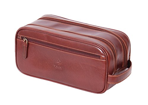 Real Leather Wash Bag Shaving Kit Toiletries Travel Overnight Case Harry Brown