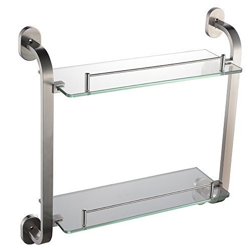 Alise SUS304 Stainless Steel Bathroom Lavatory Double-Layer Glass Shelf Wall Mount,Brushed Finish,GK9015