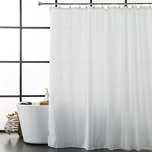 Aimjerry White Fabirc Shower Curtain for Bathroom,72Hx72L