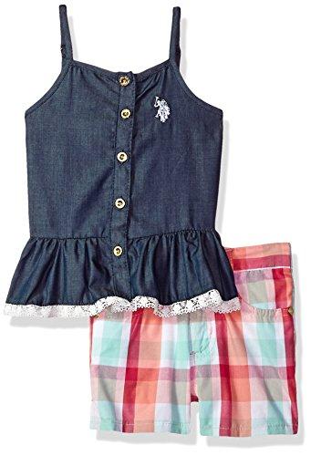 U.S. Polo Assn. Girls' Toddler Fashion Top Set, Button Front Peplum Tank Plaid Short Multi 3T
