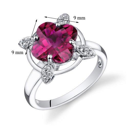 Revoni 14ct or blanc 585/1000 Lis Coupe rubis Diamant Bague (4.83 cttw)