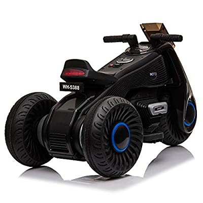 APLOS Kids Ride on Motorcycle, 6V Battery Powered 3 Wheels Motorcycle Toy for Children Boys & Girls, Electric Ride on Motorcycle w/Music, Pedal (Black): Sports & Outdoors