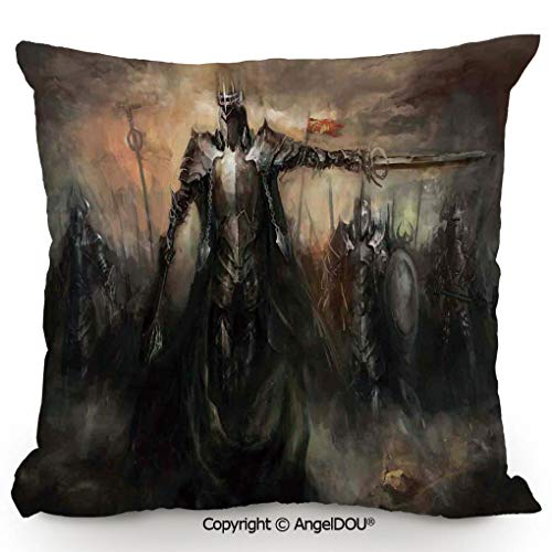 on Linen Pillow Cushion,General Leading His Army in War Medieval Armored Knight Kingdom Ancient Fantasy,Living Room Sofa car Bed Back Cushion Pillowcase.17.7x17.7 inches ()