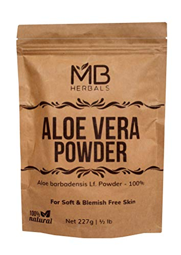 MB Herbals Aloe Vera Powder 100g | 3.5oz | 100% Pure & Organically Cultivated | Natural Skin Moisturizer | Controls Blemish Acne Pimples & Fine Lines | EXTERNAL USE -