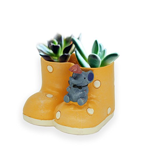 Creative Plants Pot Ceramics Flower Pot Planter Garden Bonsai Succulent Plants Desk Flower Pot, Cactus Plant Pot Flower Pot/Container (Yellow)