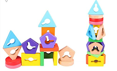 Baby Toddler Kids Gifts Wooden Elephant Shape Five Building Blocks Column Baby Geometry Cognitive Matching Toys Creative Gifts