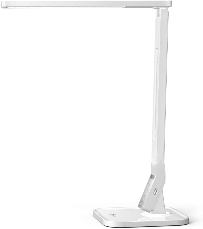 Lámpara Escritorio Usb LED TaoTronics Flexo de Escritorio (4 Modos, 5 Niveles de Brillo, USB 5v/1A para cargar, Temporizador de 60min) para Leer, Estudiar, Cuidado de ojos, Color Blanco