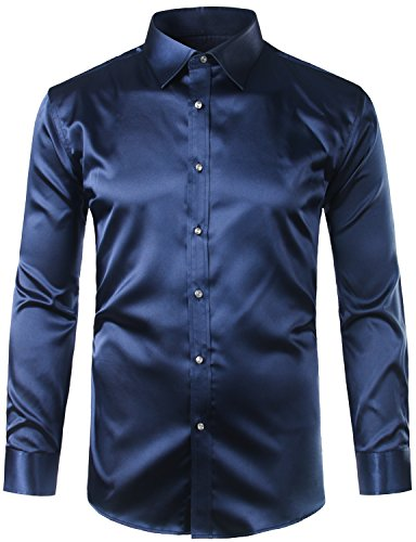 ZEROYAA Mens Regular Fit Long Sleeve Shiny Satin Silk Like Dance Prom Dress Shirt Tops Z6 Navy Blue XXX Large