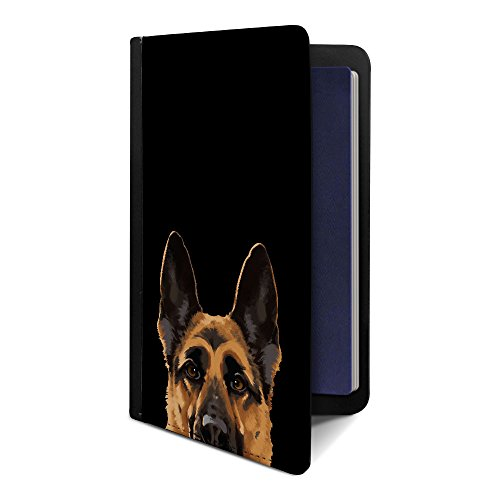 FINCIBO Passport Holder Travel Wallet Organizer Cover Case, Black Tan German Shepherd Dog