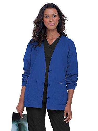 (Landau Essentials Women's Cardigan Warm-up Scrub Jacket Royal Blue XS)