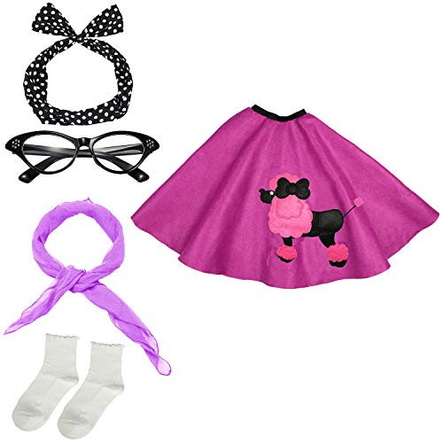 50s Womens Costume Accessory Set - Poodle Skirt, Bandana Tie Headband,Chiffon Scarf, Cat Eye Glasses,Bobby Socks (OneSize, Purple)