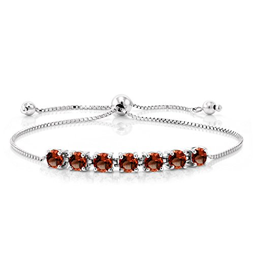 - Gem Stone King Sterling Silver Natural Red Garnet Adjustable Bracelet 2.80 cttw Round Cut Gemstone Birthstone