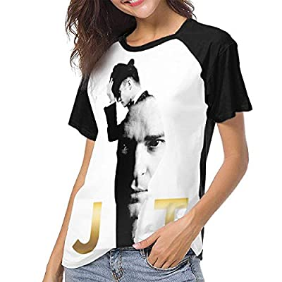 Justin Timberlake Women Short Sleeve Baseball T Shirts Casual Loose Blouse Tops