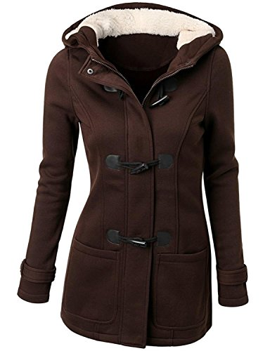 Annystore Womens Pea Coat Winter Hooded Toggle Duffle Pea Coat Jacket Outerwear with Pockets Coffee 4XL