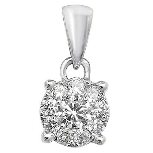 9ct or blanc diamant 0,2CT Pendentif sur un collier de Belcher