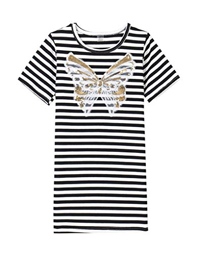 YUEXIN Big Girls' Cotton Short Sleeve Dresses Butterfly Striped Casual Shirt