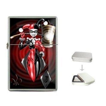 Harley Quinn Batman Arkham City 2 Flip Top Cigarette Lighter + free Case Box BM14 Oil Lighter -