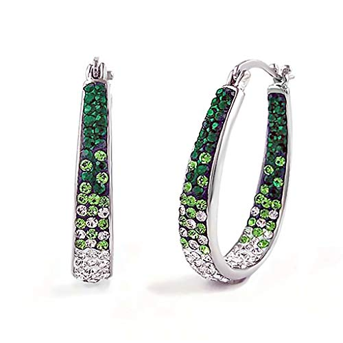 Silver Plated Austrian Crystal Ombre Style Inside Out Graduated Hoop Earing (Green)