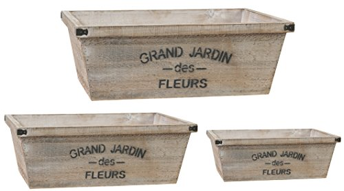 (A&B Home D33969 Set of 3 Grand Jardin Nested Planters, Rectangular)