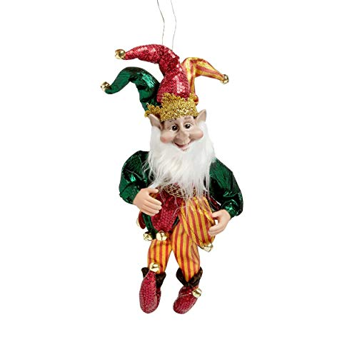 Holiday Decor 14 inch Elf Poseable Ornament Bendable Christmas Ornaments Decorations (Green & Gold Jester)