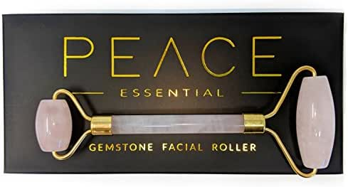 Luxury Rose Quartz Facial Roller | Natural Rose Quartz Face Roller | Dual Facial Rollers Massager | Anti-Aging Slimming Face Massage Tool | Detoxify and Glow