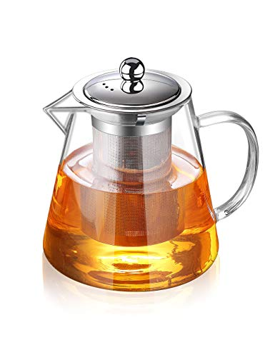 Glass Teapot with Infuser Tea Pot 950ml/32oz Tea Kettle Stovetop Safe Blooming and Loose Leaf Tea Maker Set