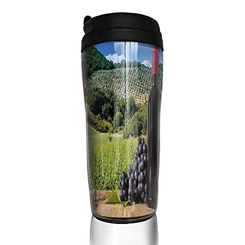 coffee cups with lids 12 oz Wine,Idyllic Tuscany Country Landscape Agriculture Harvest Grape Plantation,Black Green Pale Brown 12 oz,coffee for one cup coffee maker