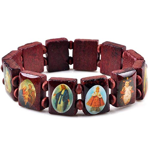 Lanyan Religious Wear Small Panel Wooden Elasticated Bracelet with Assorted Colored Images of Saints Elastic Stretch Bangle