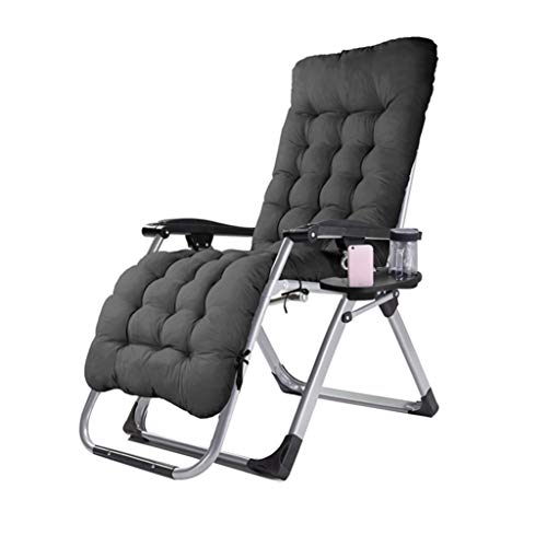 Folding Recliners Folding Recliner Lazy Lounge Deck Lazy Chair Holder Adjustable with Cup Holder Indoor and Outdoor Load-Bearing 200kg Black ()