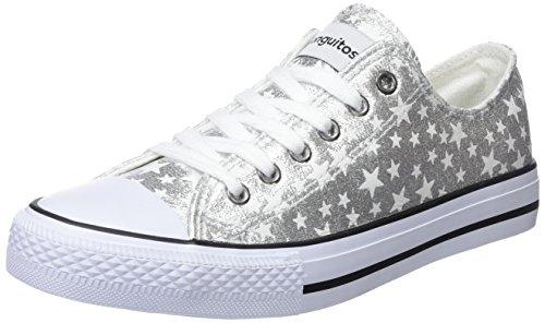 Conguitos Basquet Metalizado Estrellas, Zapatillas Para Niñas Plateado (Plata)