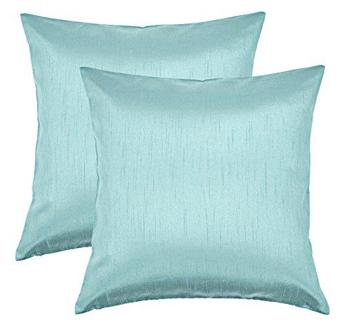 Aiking Home 18x18 Inches Faux Silk Square Throw Pillow Cover, Zipper Closure, Aqua (Set of 2)