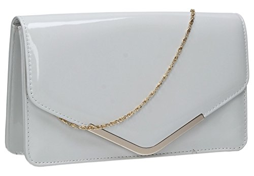 Prom SWANKYSWANS Envelope Bag Womens White Sara Patent Ladies Party Clutch Leather xwRBXBz