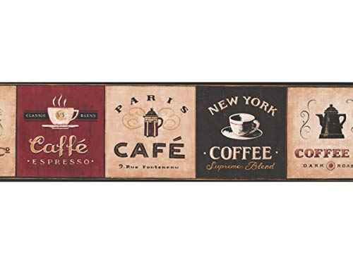 Coffee Wallpaper Border - Prepasted Removable Kitchen Cafe Wall Paper Borders Easy Installation