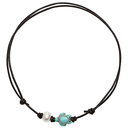 PearlyPearls 18'' Freshwater Cultured Pearl Choker Necklace with Turquoise Turtle on Leather Cord for Women Dark (Beach Necklaces)