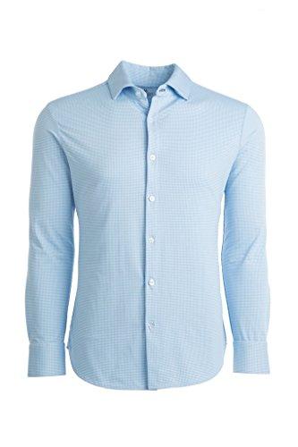 Mizzen + Main Spinnaker Trim Fit Mens Button Down Shirt - Non-Iron, Machine Washable, Sweat Wicking - Whitman Light Blue Gingham - Large