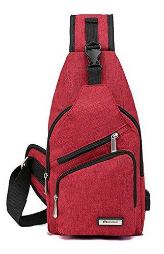 Rouge AgooLar à Zippers Nylon Cyclisme bandoulière Sacs sacs Femme Des Mode Rouge 1q1gCP