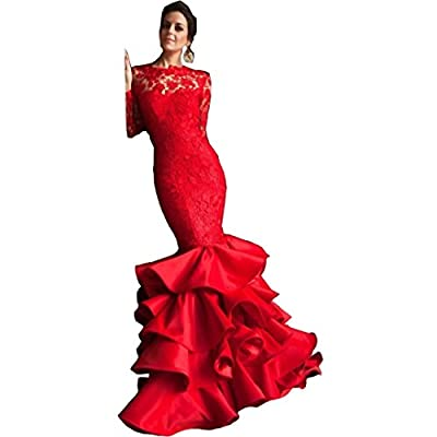 Chady Mermaid Lace Applique Layered Ruffles Pageant Prom Dress 2017 Red Backless Long Sleeves Satin Evening Dresses Party Gowns