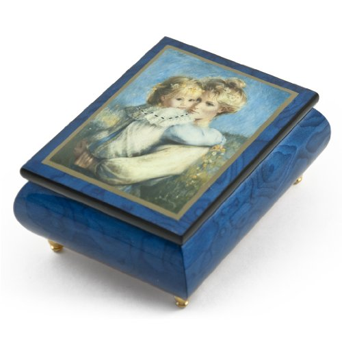Vibrant Blue Ercolano Painted Music Box Titled ''Afternoon on Flower HIll'' by Brenda Burke - Rock of Ages - Christian Version by MusicBoxAttic