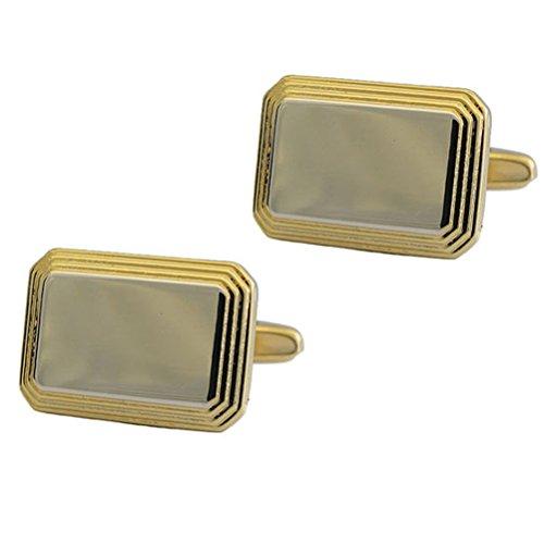 Twotone Silvertone & Gold Color Framed Rectangular Cufflinks ()
