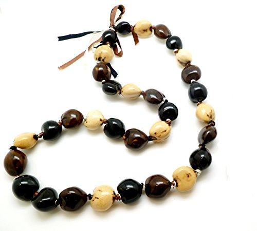 Aloha Passion Hawaiian Style Tri-Color Kukui Nut Nut Necklace,32 Nut