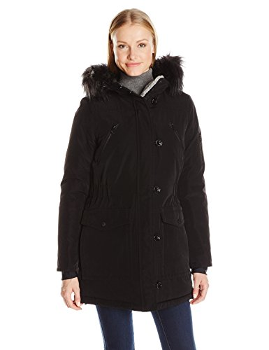 Nautica Women's Parka Jacket with Faux Fur Hood Strip (Removable), Black, S (Nautica Womens Parka With Faux Shearling Lining)