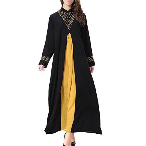 Apparel Dubai Manga Turquía islámico Cóctel TH901 Robe Maxi Suelto Vestido Oriente Mujer Kaftan Vestido Hzjundasi Medio Musulmán larga Dorado Abaya Boda noche de Ayustar OzwSFEq