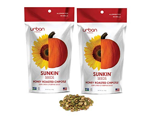 Sunkin Seeds - Sunflower and Pumpkin Seeds - Healthy Snacks - 100% Natural, Gluten Free (Honey Roasted Chipotle, Two Pack)