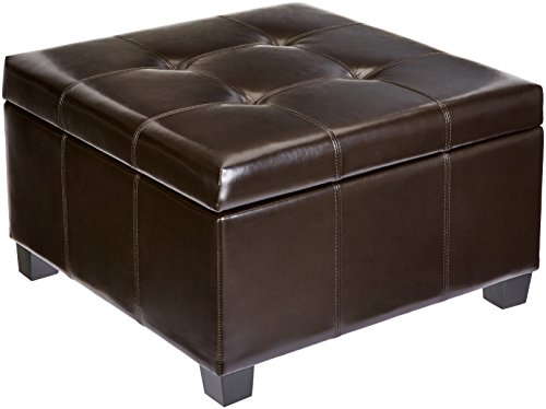 (First Hill Damara Square-Shaped Large Faux-Leather Storage Ottoman - Bittersweet Chocolate)