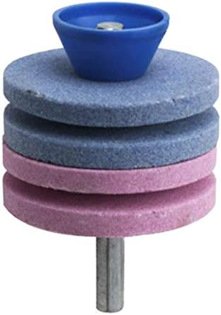 芝刈り機 刃研ぎ グラインダー ホイール ストーン パワードリル用 - 青とピンク