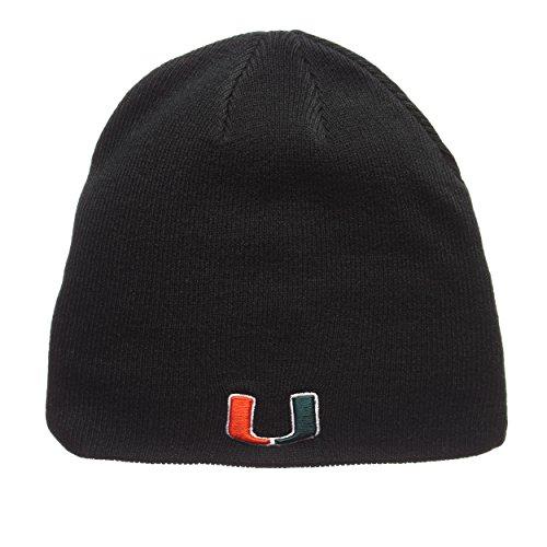 ZHATS Miami Hurricanes Green Edge Skull Cap - NCAA Cuffless Winter Knit Beanie Toque -