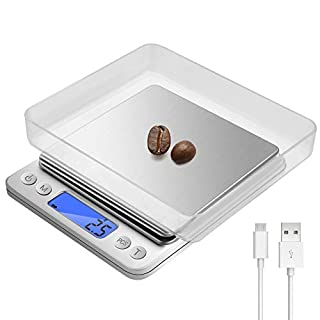 Food Scale, Rechargeable Precision Electronic Digital Kitchen Scale (0.1g to 3000g) with 2 Trays, Stainless Steel, LCD Display, Tare and PCS Features